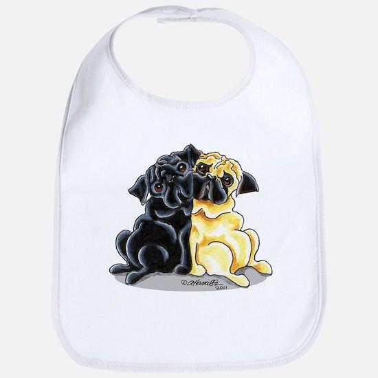 Black Fawn Pug Bib