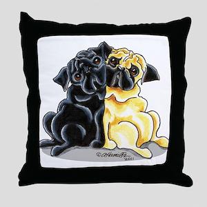 Black Fawn Pug Throw Pillow