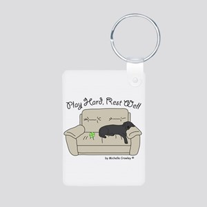 Black Lab - Play Hard Aluminum Photo Keychain