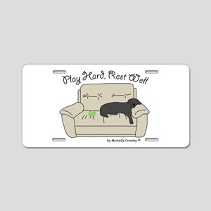 Black Lab - Play Hard Aluminum License Plate