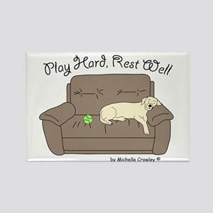 Yellow Lab - Play Hard Rectangle Magnet