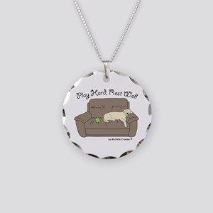 Yellow Lab - Play Hard Necklace Circle Charm