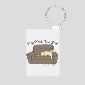 Yellow Lab - Play Hard Aluminum Photo Keychain