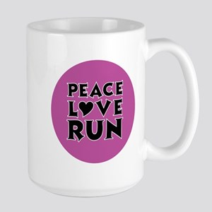 Peace Love Run Large Mug