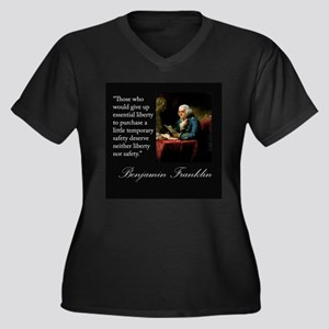 Ben Franklin Quote Portrait Women's Plus Size V-Ne