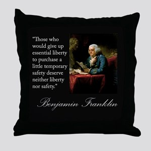 Ben Franklin Quote Portrait Throw Pillow