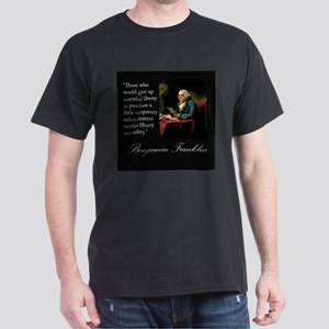 Ben Franklin Quote Portrait Dark T-Shirt