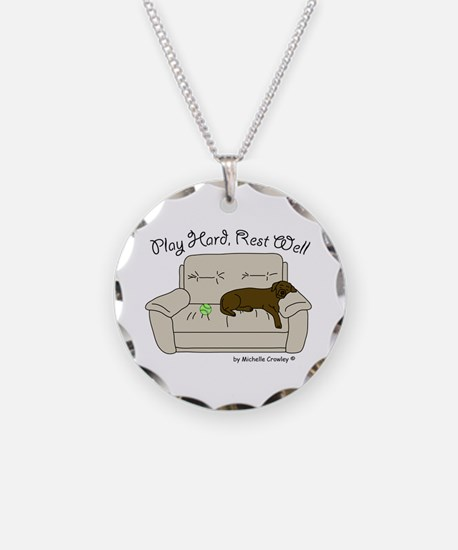 Chocolate Lab - Play Hard Necklace
