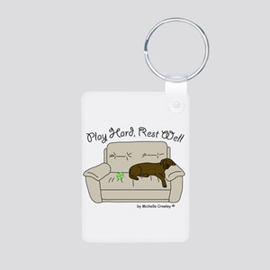 Chocolate Lab - Play Hard Aluminum Photo Keychain