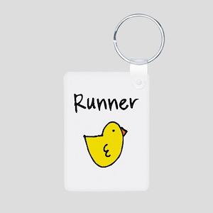 Runner Chick Aluminum Photo Keychain