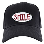SMILE! Cap (black with white oval and red letters)