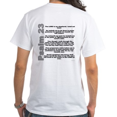 Psalm 23 White T-Shirt With Bible Verse on Back
