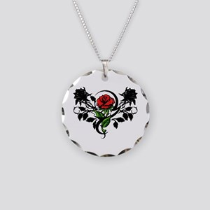 Rose tatoo Necklace Circle Charm