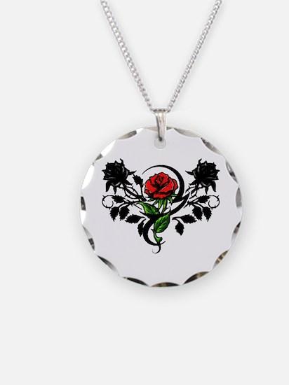 Rose tatoo Necklace Circle Charm