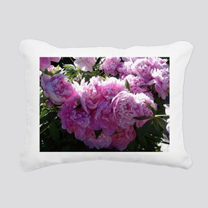 """Pink Peony Paradise"" Rectangular Canvas Pillow"