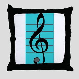 Treble Clef Throw Pillow Blue