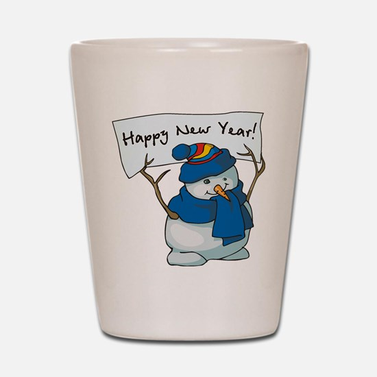Happy New Years Snowman Shot Glass