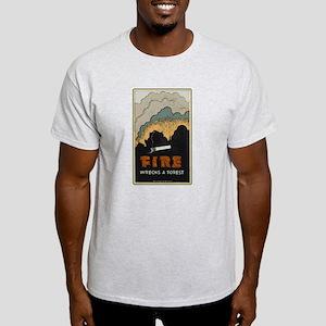 """""""Fire Wrecks a Forest"""" Ash Grey T-Shirt"""