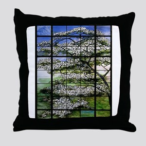 Tifany Dogwood Stained Glass Throw Pillow