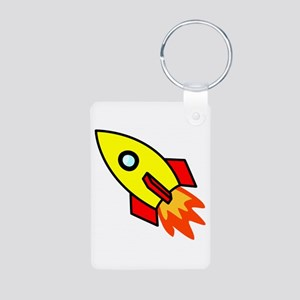 Rocket Aluminum Photo Keychain