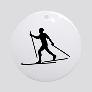 Cross Country Skiing Ornament (Round)