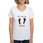 My feet go naked Women's V-Neck T-Shirt