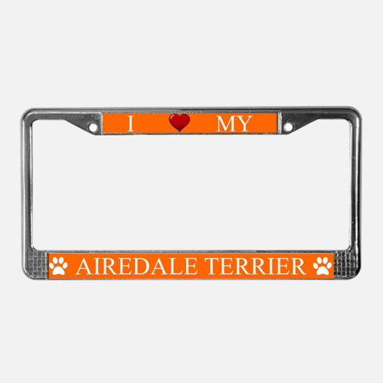 Orange I Love My Airedale Terrier Frame