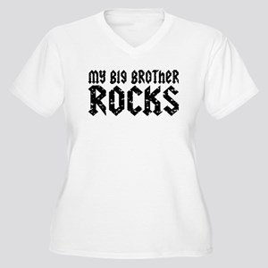 My Big Brother Rocks Women's Plus Size V-Neck T-Sh