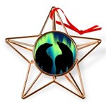 Northern Lights Tribal Bears Copper Star Ornament