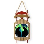 Northern Lights Tribal Bears Sled Ornament