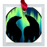 Northern Lights Tribal Bears Square Glass Ornament