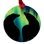 Northern Lights Tribal Bears Maple Round Ornament
