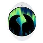 Northern Lights Tribal Bears Oval Ornament