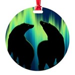 Northern Lights Tribal Bears Round Ornament