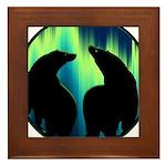Northern Lights Tribal Bears Framed Tile