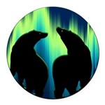 Northern Lights Tribal Bears Round Car Magnet