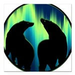 Northern Lights Tribal Bears Square Car Magnet 3