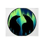 Northern Lights Tribal Bears Plush Fleece Throw Bl