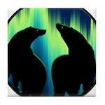 Northern Lights Tribal Bears Tile Coaster