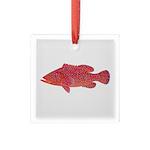 Coral Hind Grouper Square Glass Ornament