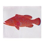 Coral Hind Grouper Plush Fleece Throw Blanket