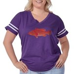 Coral Hind Grouper Women's Plus Size Football T-Sh
