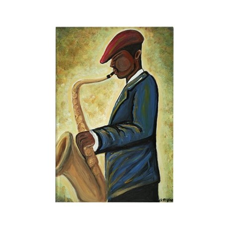 Sax Man Rectangle Magnet (10 pack)