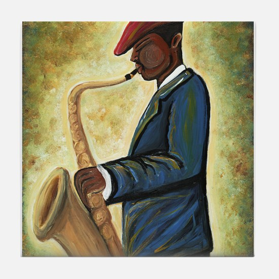 Sax Man Tile Coaster