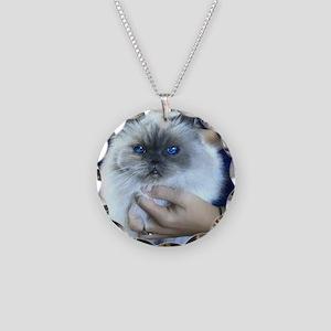 Himalayan Blue Necklace Circle Charm