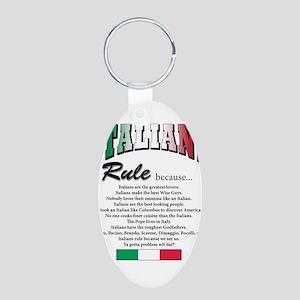 Italians Rules Aluminum Oval Keychain