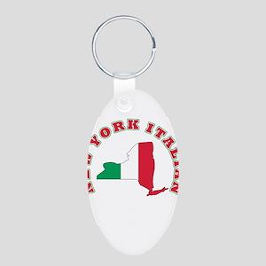 New York Italian Aluminum Oval Keychain