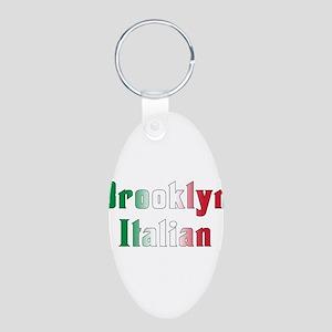 Brooklyn New York Italian Aluminum Oval Keychain