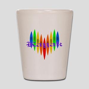 Rainbow Kayaker's Heart Shot Glass