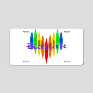 Rainbow Kayaker's Heart Aluminum License Plate